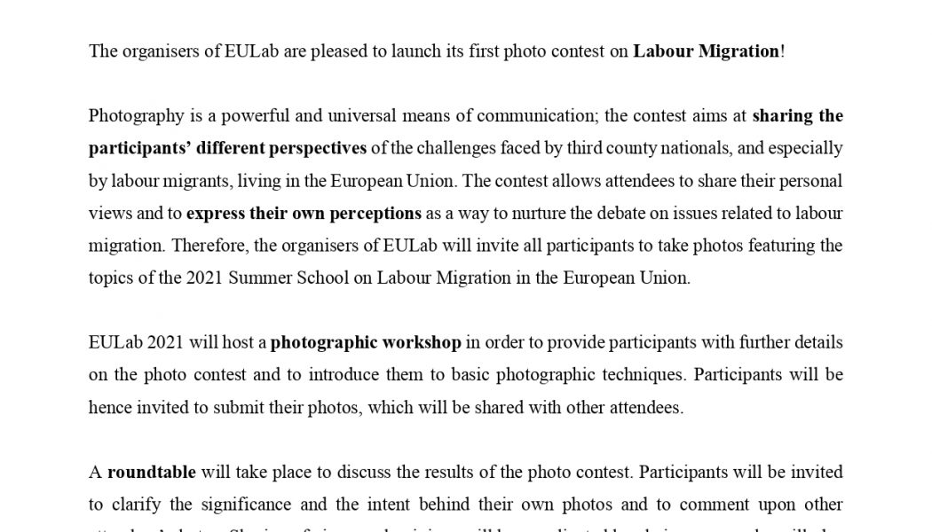 EULab 2021 launches its photo contest!